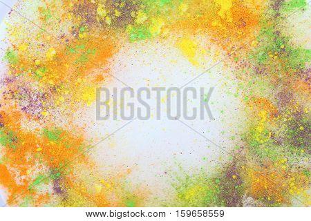 Holi colors template background. Celebrate festival Holi. Indian Holi festival of colours.