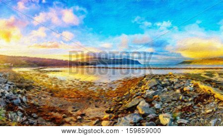 Scandinavian nature. Beautiful sundown in Olderfjord village on the eastern coast of the Porsanger Peninsula along the shore of the Porsangerfjorden. Norway. Oil painting effect.