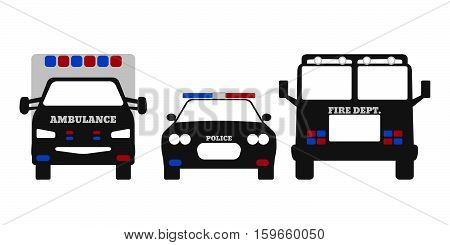 Fire Car, Ambulance And Police Car. Elements Of The 911 Emergency Services. Vector Illustration.