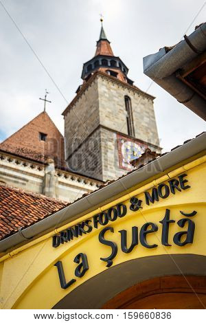 Brasov, Romania - 15 July, 2014: Restaurant On The Main Square Of The Medieval City Of Brasov, Main