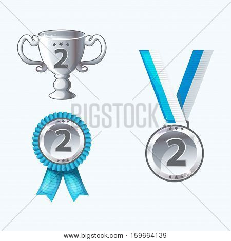 Set silver medals and awards trophy in vector