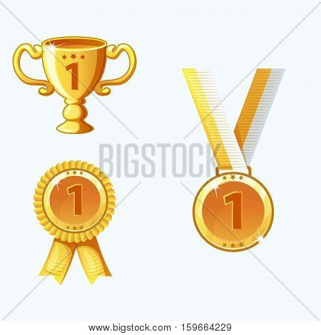 Set gold medals and awards trophy in vector