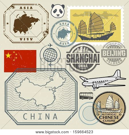 Travel stamps set with the text Chine Shanghai Beijing (in chinese language too) and China map vector illustration