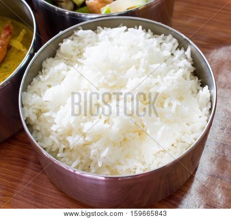 Jusmin streamed rice in a part of food carrier thai stylelauch jartiffin.
