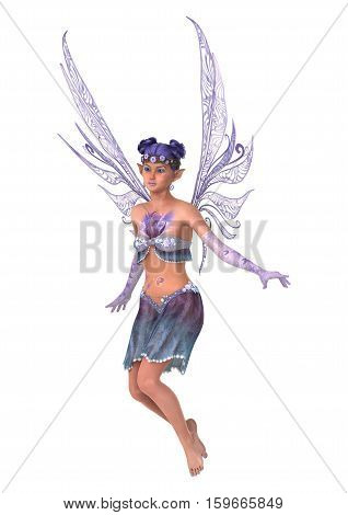 3D Rendering Purple Fairy On White