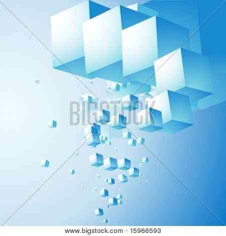 abstract cloud of cubes