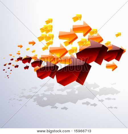 A cloud of moving around arrows