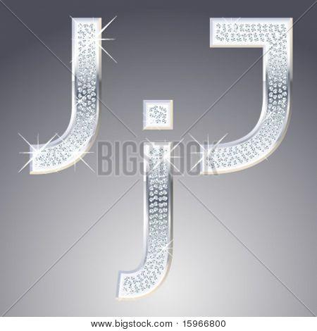 Símbolos de platino con incrustaciones de diamante migas