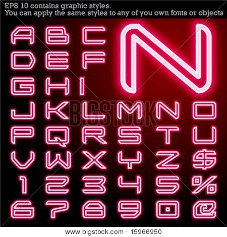 Neon transparent characters. Sensitive to the background. File contains graphic styles. You can apply the styles to any of you own fonts or objects