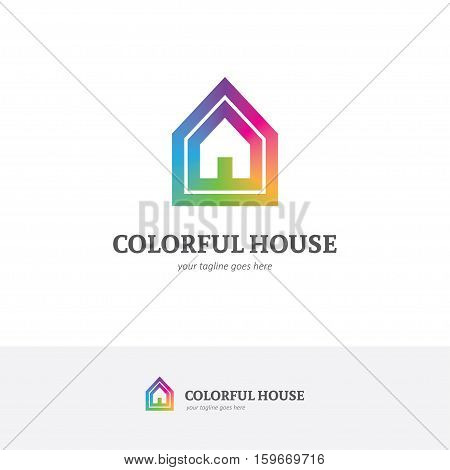 Bright house logo in a rainbow colors. Can be used for home decor kindergarten painting school apartments design concept etc.