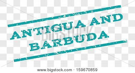 Antigua and Barbuda watermark stamp. Text tag between parallel lines with grunge design style. Rubber seal stamp with scratched texture.