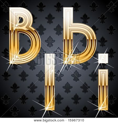 Shiny golden alphabet on a chic victorian background. Characters b i