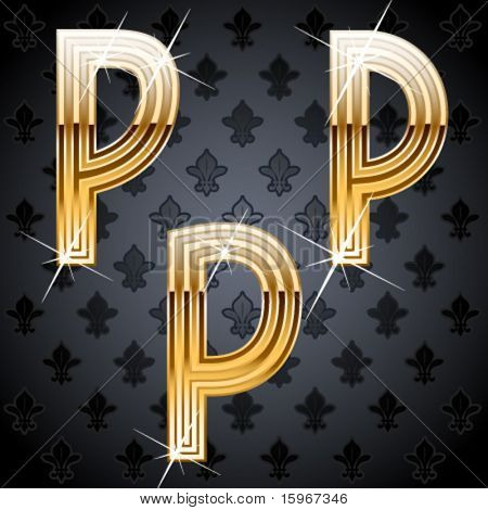 Shiny golden alphabet on a chic victorian background.  Character p