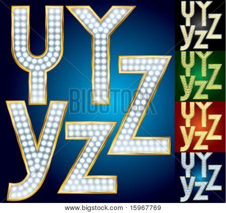 Premium conjunto de alfabeto lámpara avanzada. Caracteres y z