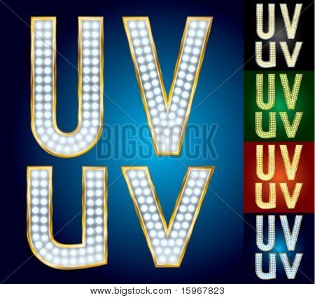 Premium set of advanced lamp alphabet. Characters u v