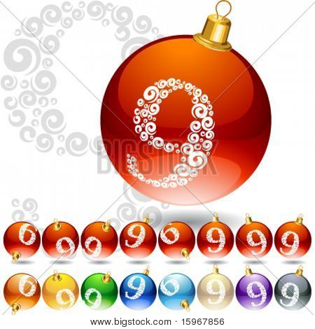 Vielseitige Gruppe von Alphabet Symbole auf Weihnachtskugel. Brief 9
