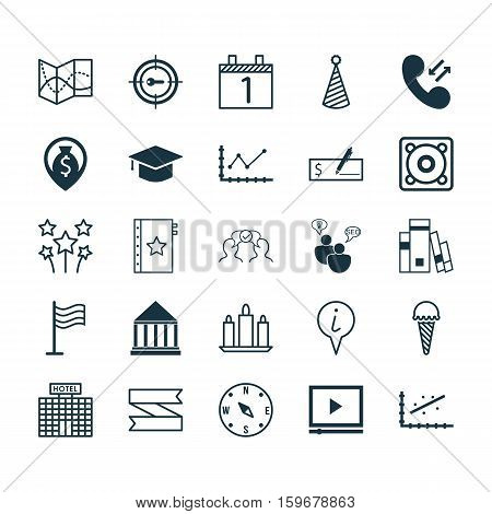 Set Of 25 Universal Editable Icons. Can Be Used For Web, Mobile And App Design. Includes Elements Such As Keyword Marketing, Pin, Cellular Data And More.