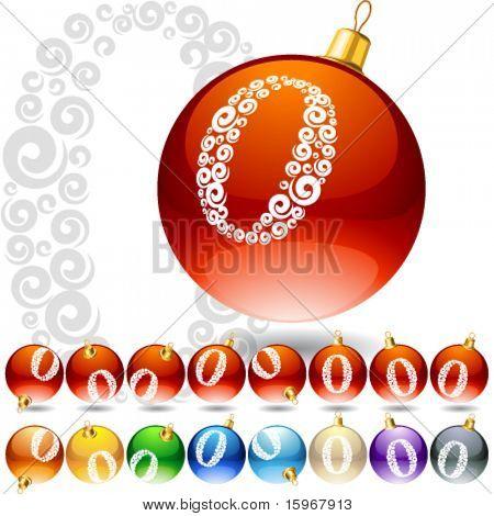 Versatile set of alphabet symbols on Christmas balls. Letter 0