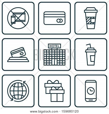 Set Of 9 Travel Icons. Can Be Used For Web, Mobile, UI And Infographic Design. Includes Elements Such As Phone, No, Building And More.