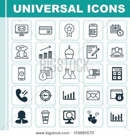 Set Of 25 Universal Editable Icons. Can Be Used For Web, Mobile And App Design. Includes Elements Such As Keyword Marketing, Calculation, Financial And More.