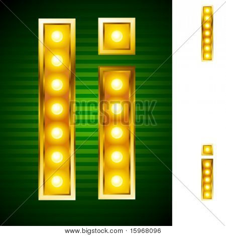 Letters for signs with lamps. Letter i