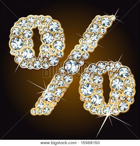 Whimsical characters of diamonds in a golden ingot