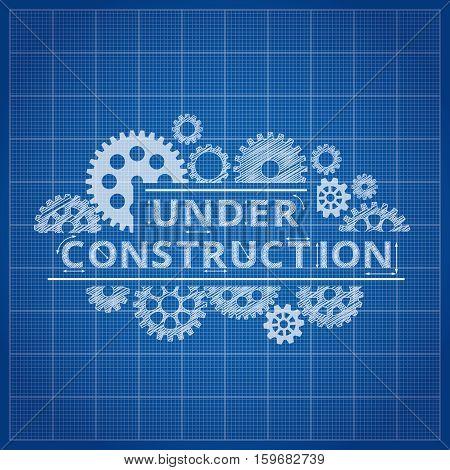 Blueprint website backdrop. Under construction blue print background for web page illustration