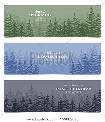 Forest horizon banners. Pine trees backgrounds vector illustration. Taiga panorama greenwood, evergreen wood in mist