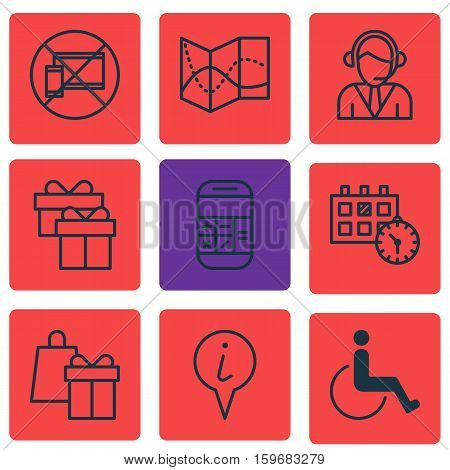 Set Of 9 Traveling Icons. Can Be Used For Web, Mobile, UI And Infographic Design. Includes Elements Such As Calculation, No, Box And More.