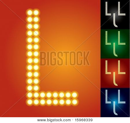 Set of advanced led alphabet with transparency. Character l