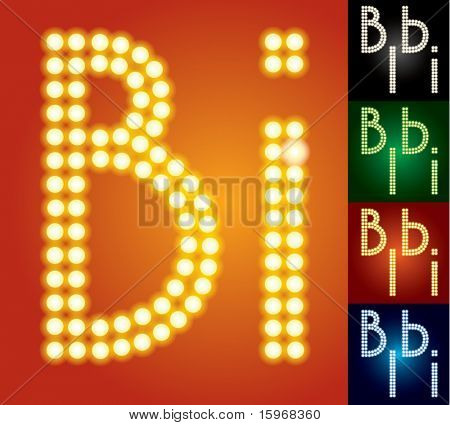 Set of advanced led alphabet with transparency. Characters b i