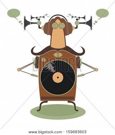 Funny jukebox. Funny vintage jukebox cartoon illustration