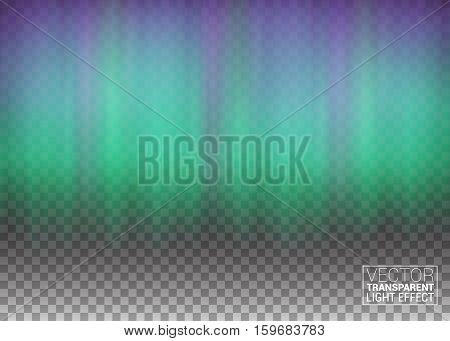 Aurora Beautiful Natural Effect for Design Projects. Decoration Element Magic Fabulous Realistic Colored Northern or polar lights on transparent background. Vector Illustration.
