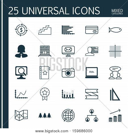 Set Of 25 Universal Editable Icons. Can Be Used For Web, Mobile And App Design. Includes Elements Such As Airport Construction, Present Badge, Personal Skills And More.