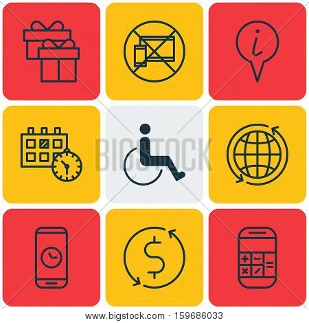 Set Of 9 Airport Icons. Can Be Used For Web, Mobile, UI And Infographic Design. Includes Elements Such As Dollar, Date, Exchange And More.