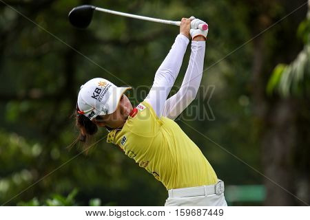 KUALA LUMPUR, MALAYSIA - OCTOBER 29, 2016: Mi Hyang Lee of South Korea tees off from the T-box of the 4th hole at the TPC Golf Course at the 2016 Sime Darby LPGA Malaysia golf tournament.