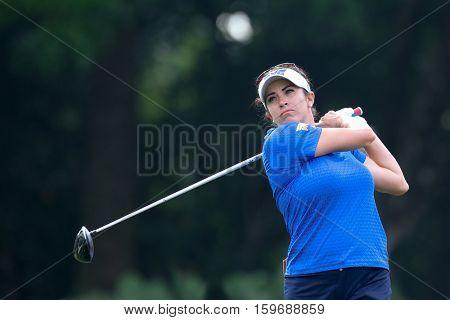 KUALA LUMPUR, MALAYSIA - OCTOBER 29, 2016: Gerina Piller of the USA tees off at the TPC Golf Course at the 2016 Sime Darby LPGA Malaysia golf tournament.
