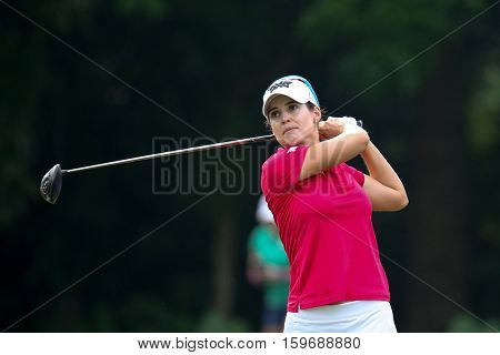 KUALA LUMPUR, MALAYSIA - OCTOBER 29, 2016: Beatriz Recari of Spain tees off at the TPC Golf Course at the 2016 Sime Darby LPGA Malaysia golf tournament.