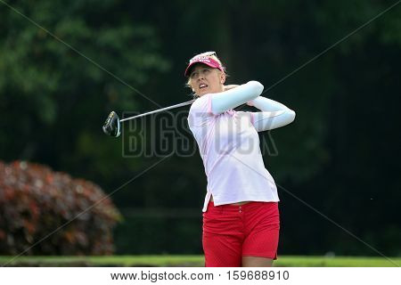 KUALA LUMPUR, MALAYSIA - OCTOBER 29, 2016: Jessica Korda of the USA tees off at the TPC Golf Course on Round 3 of the 2016 Sime Darby LPGA Malaysia golf tournament.