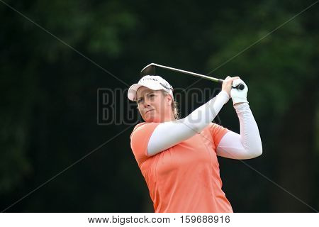 KUALA LUMPUR, MALAYSIA - OCTOBER 29, 2016: Brittany Lincicome of the USA tees off at the TPC Golf Course at the 2016 Sime Darby LPGA Malaysia golf tournament.
