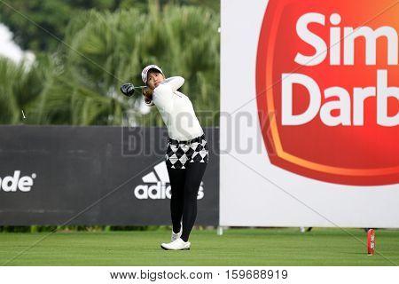 KUALA LUMPUR, MALAYSIA - OCTOBER 29, 2016: Pornanong Phatlum of Thailand tees off at the TPC Golf Course on Round 3 of the 2016 Sime Darby LPGA Malaysia golf tournament.