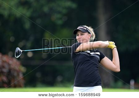 KUALA LUMPUR, MALAYSIA - OCTOBER 29, 2016: Ryann O'Toole of the USA tees off at the TPC Golf Course on Round 3 of the 2016 Sime Darby LPGA Malaysia golf tournament.