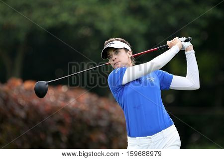 KUALA LUMPUR, MALAYSIA - OCTOBER 29, 2016: Lim Kaufman of the USA tees off at the TPC Golf Course on Round 3 of the 2016 Sime Darby LPGA Malaysia golf tournament.