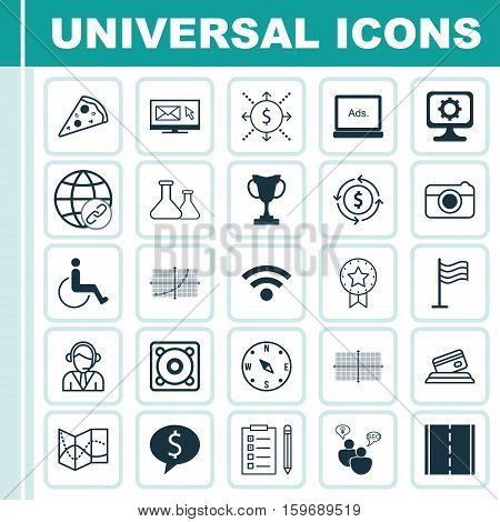 Set Of 25 Universal Editable Icons. Can Be Used For Web, Mobile And App Design. Includes Elements Such As SEO Brainstorm, Square Diagram, Street And More.