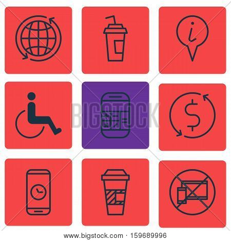 Set Of 9 Travel Icons. Can Be Used For Web, Mobile, UI And Infographic Design. Includes Elements Such As Pointer, Paralyzed, No And More.