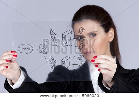 Businesswoman showing a firewall schema (selective focus with shallow DOF).