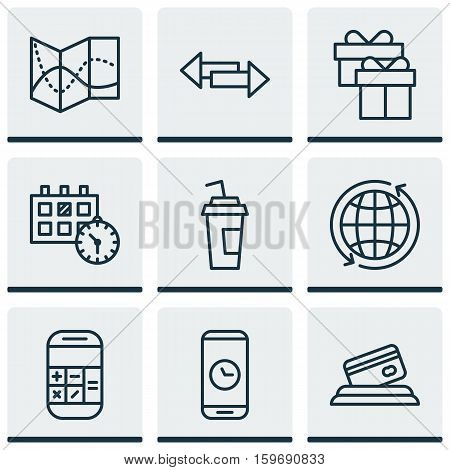 Set Of 9 Travel Icons. Can Be Used For Web, Mobile, UI And Infographic Design. Includes Elements Such As Phone, Credit, Calendar And More.