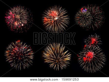 Collection of various colorful fireworks on black background. Can be used to design a variety of holidays: Christmas New year anniversary independence day.