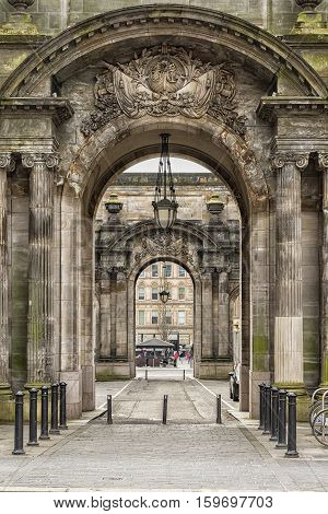 The vehicle side entrances to the City Chambers in George Square Glasgow Scotland