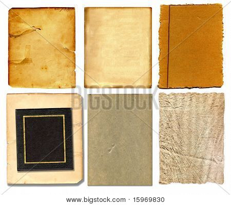 Set Of Vintage Real Papers Isolated On White Background